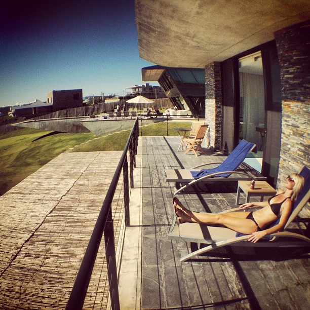 Jenny on her private sundeck at Playa Vik