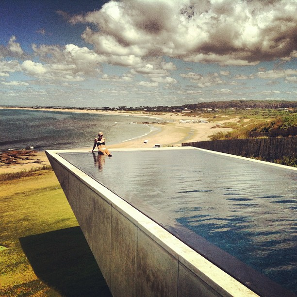 Jenny in the infinity pool at Playa Vik