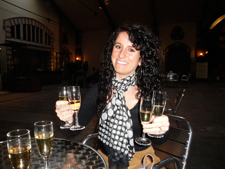 Happy Jill at Pommery with her 4 glasses of Champagne