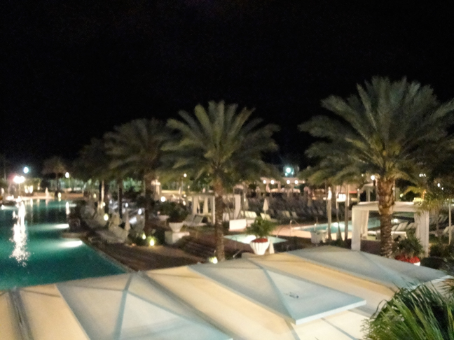 Pool at Fontainebleau at night