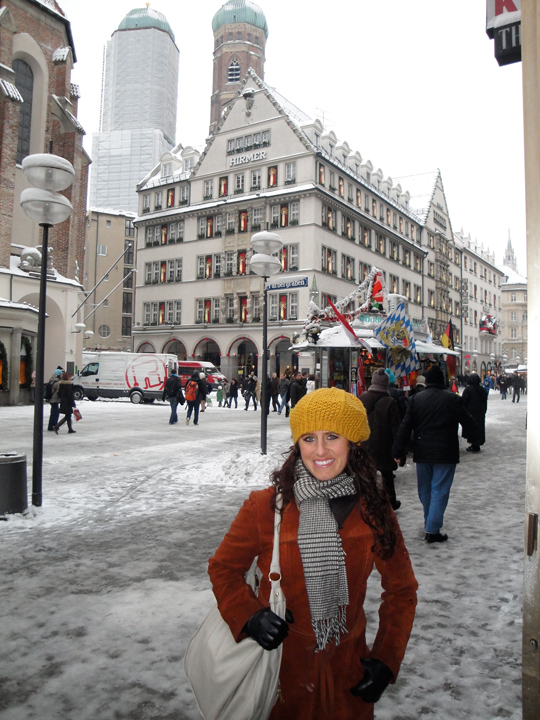 Jill in front of Frauenkirche (one tower had scaffolding)