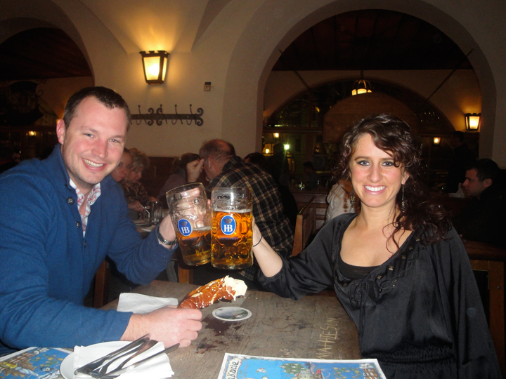 Nick and Jill with Hofbräuhaus beers and pretzel