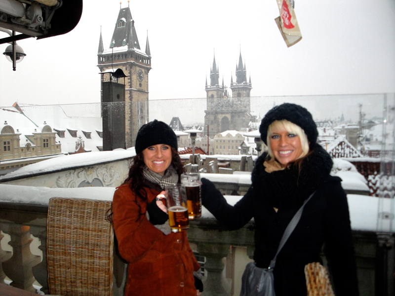 Jenny and Jill toasting to a fantastic view