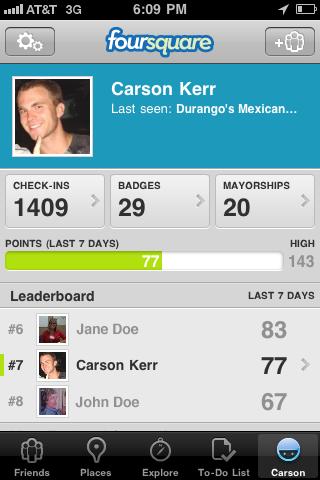 Screenshot of Carson's FourSquare™ Check-in