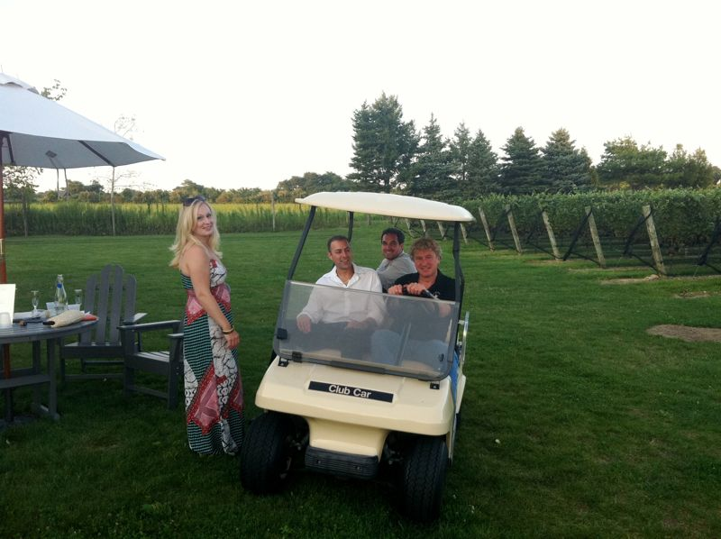 Joe pulling up on the owner's golf cart!