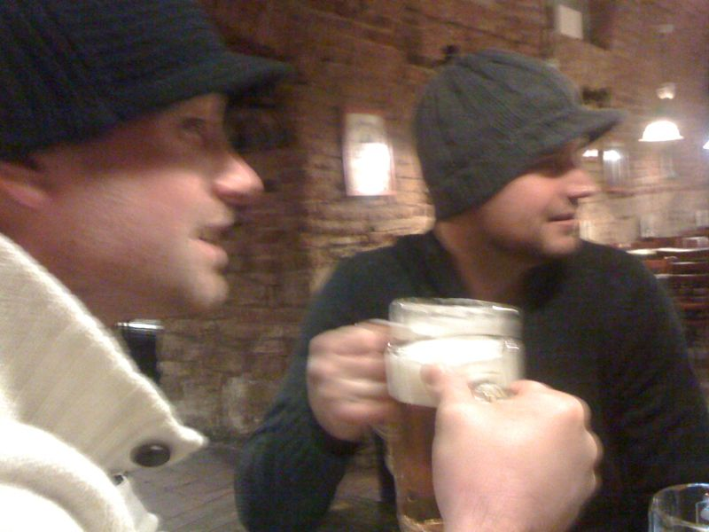 Joe and Nick enjoying a drink