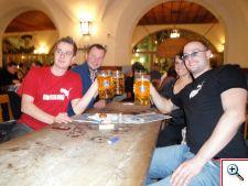 Sven, Nick, Jill, and Michel toasting