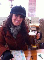 Jill drinking a Staropramen