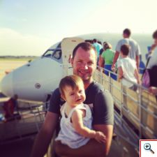 Nick & Elinor boarding a plane in Punta Gorda, FL