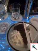 Sacher-torte on the blue bartop